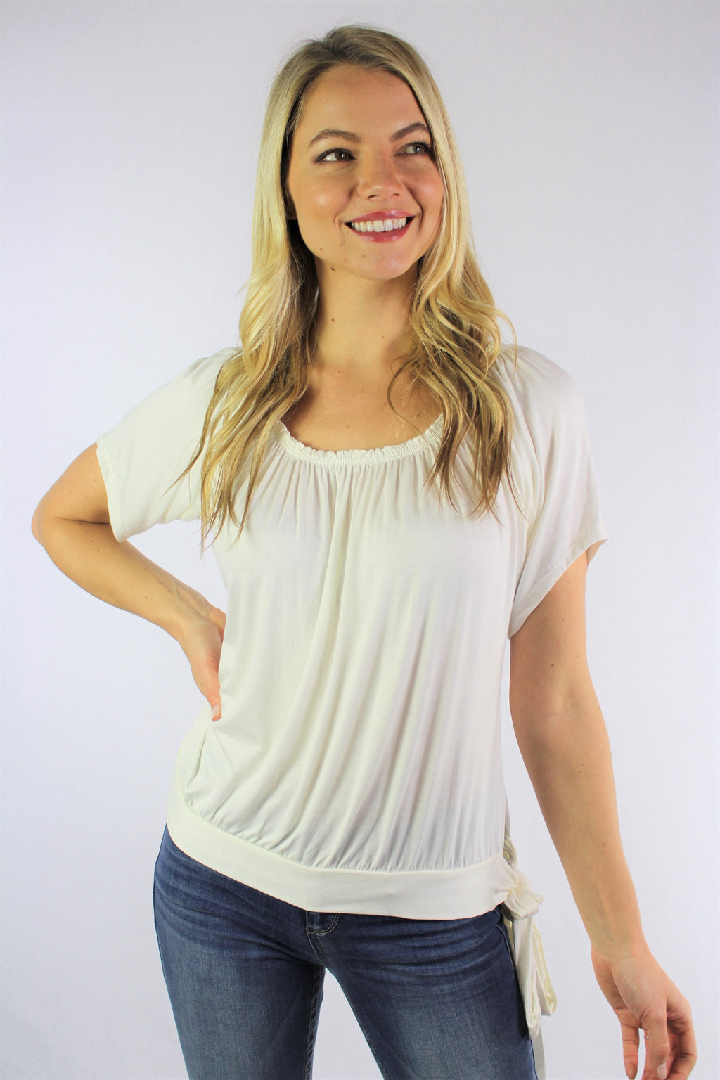 Women's Short Sleeve Round Neck Top with Ribbon Detail