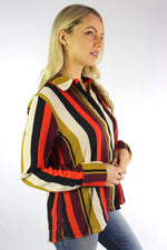 Women's Long Sleeve Multi Color Button Up Top