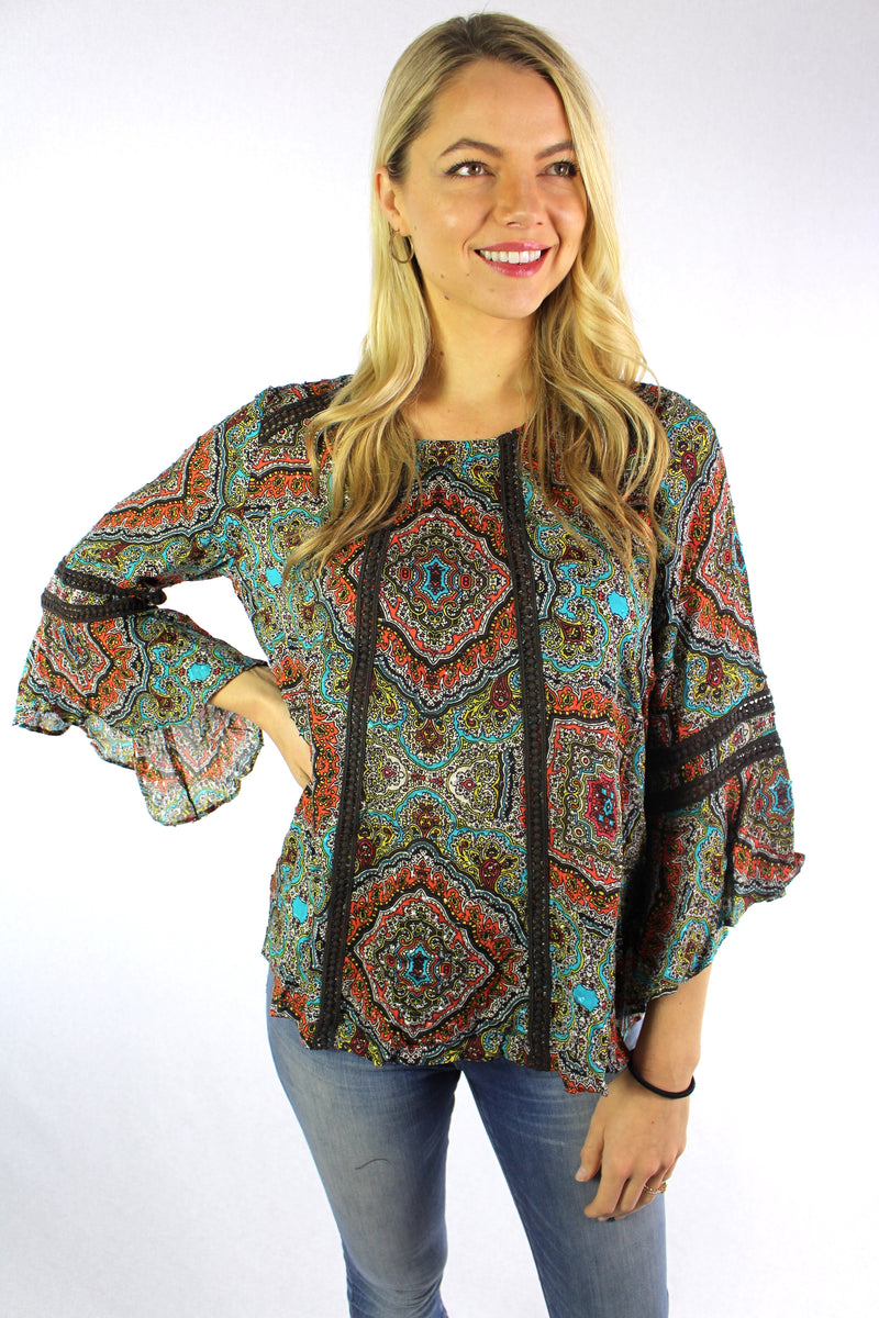 Women's 3/4th Bell Sleeve Round Neck Floral Top – Good ...
