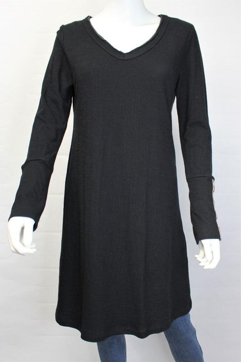 Women's Long Sleeve V Neck Tunic Dress with Cuff Detail