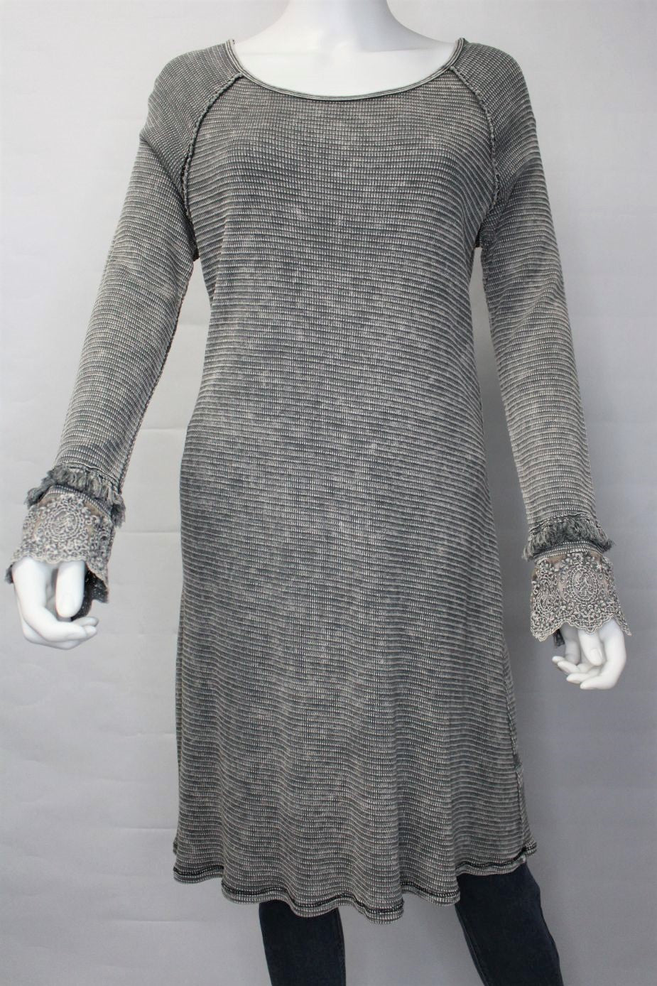 Women's Long Sleeve Scoop Neck Tunic Dress with Crochet Cuff Detail