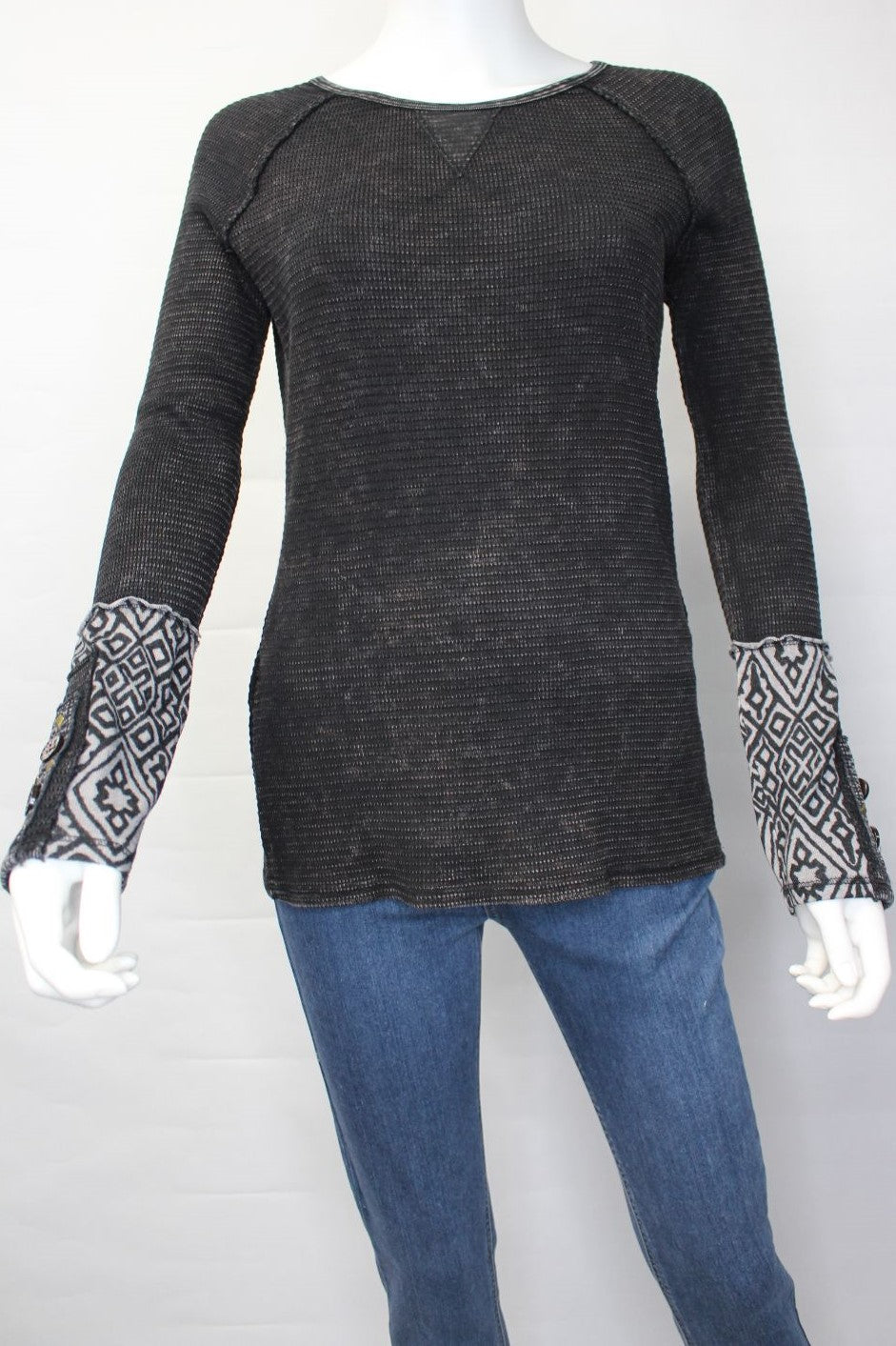 Women's Long Sleeve Crew Neck Top with Cuff Button Detail