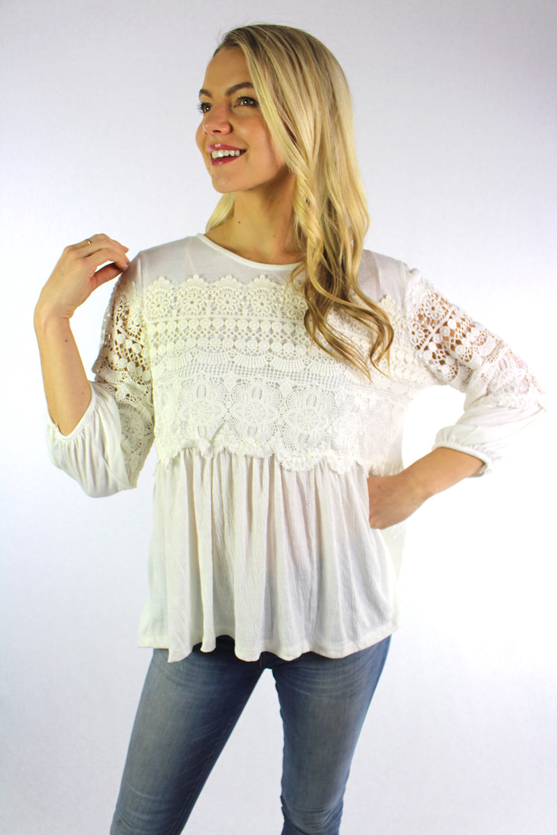 Women's 3/4th Sleeve Round Neck Top with Crochet Detail