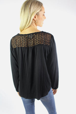 Women's 3/4th Sleeve V Neck Top with Front Knot and Lace Detail