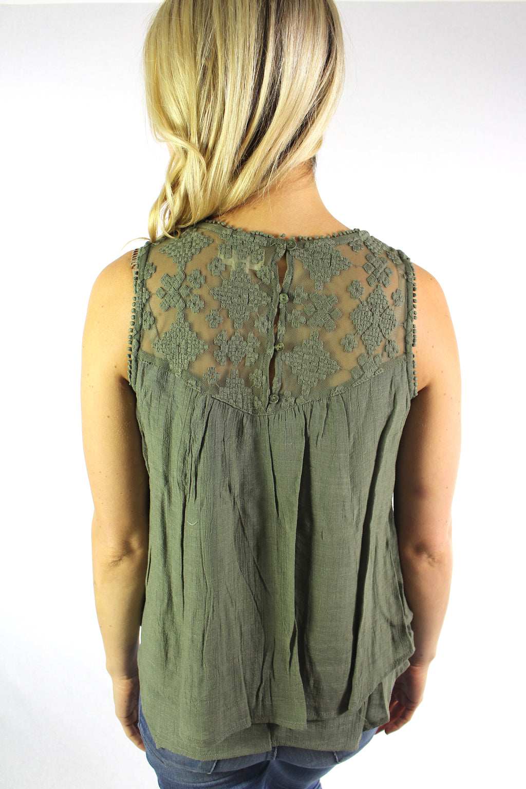 Women's Sleeveless Top with Lace Detail