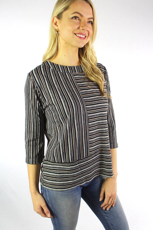 Women's 3/4th Sleeve Round Neck Top with Stripe Detail