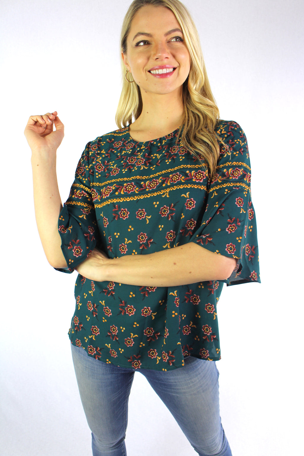 Women's Elbow Sleeve Printed Blouse