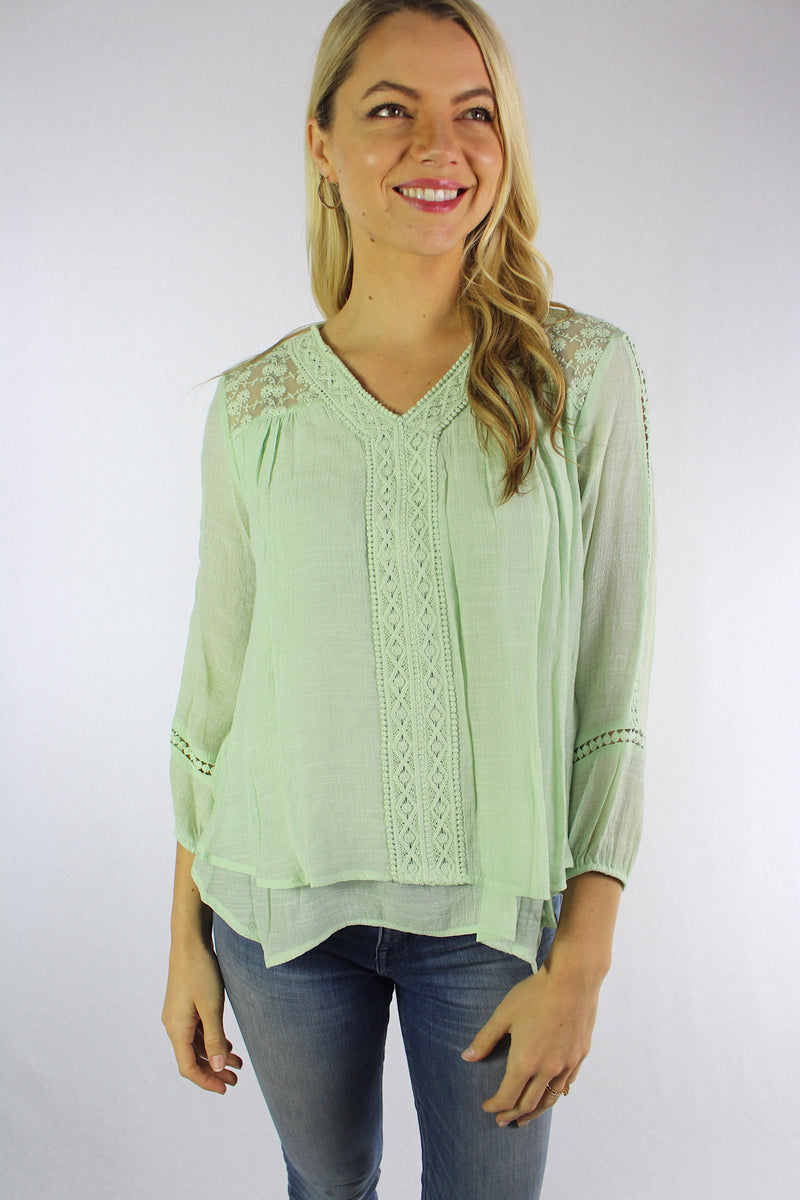 Women's 3/4th Sleeve Blouse with Lace and Crochet Details