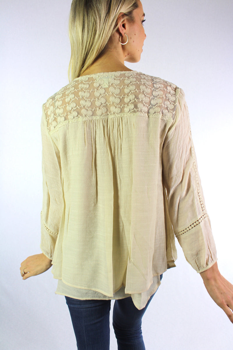 Women's Petite 3/4th Sleeve Blouse with Lace and Crochet Details