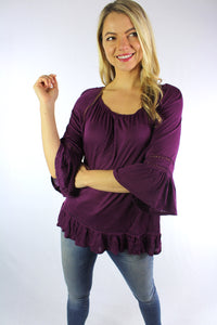 Women's 3/4th Ruffled Sleeve Round Neck Top