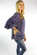 Women's 3/4th Bell Sleeve Floral Blouse with Crochet Detail