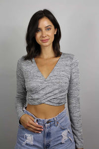 women's long sleeve cropped v neck top