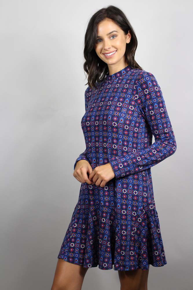 Printed Pleated Hem Dress