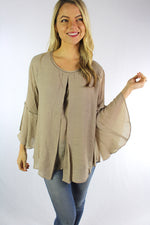 Women's Bell Sleeve Round Neck Blouse