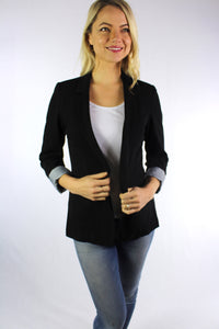 Women's Open Front Coat with Stripe Sleeve