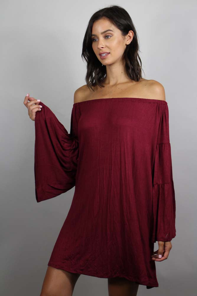 Women's Bell Sleeve Off Shoulder Dress