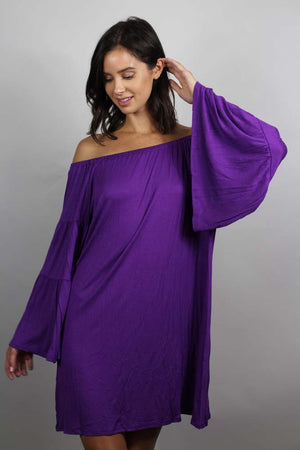 purple off shoulder