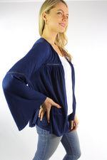Women's Bell Sleeve Open Front Cardigan with Crochet Detail