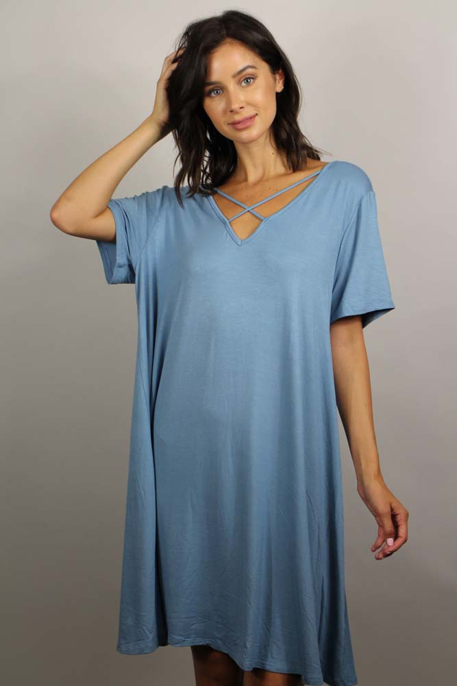 short sleeve tunic dress with cross straps