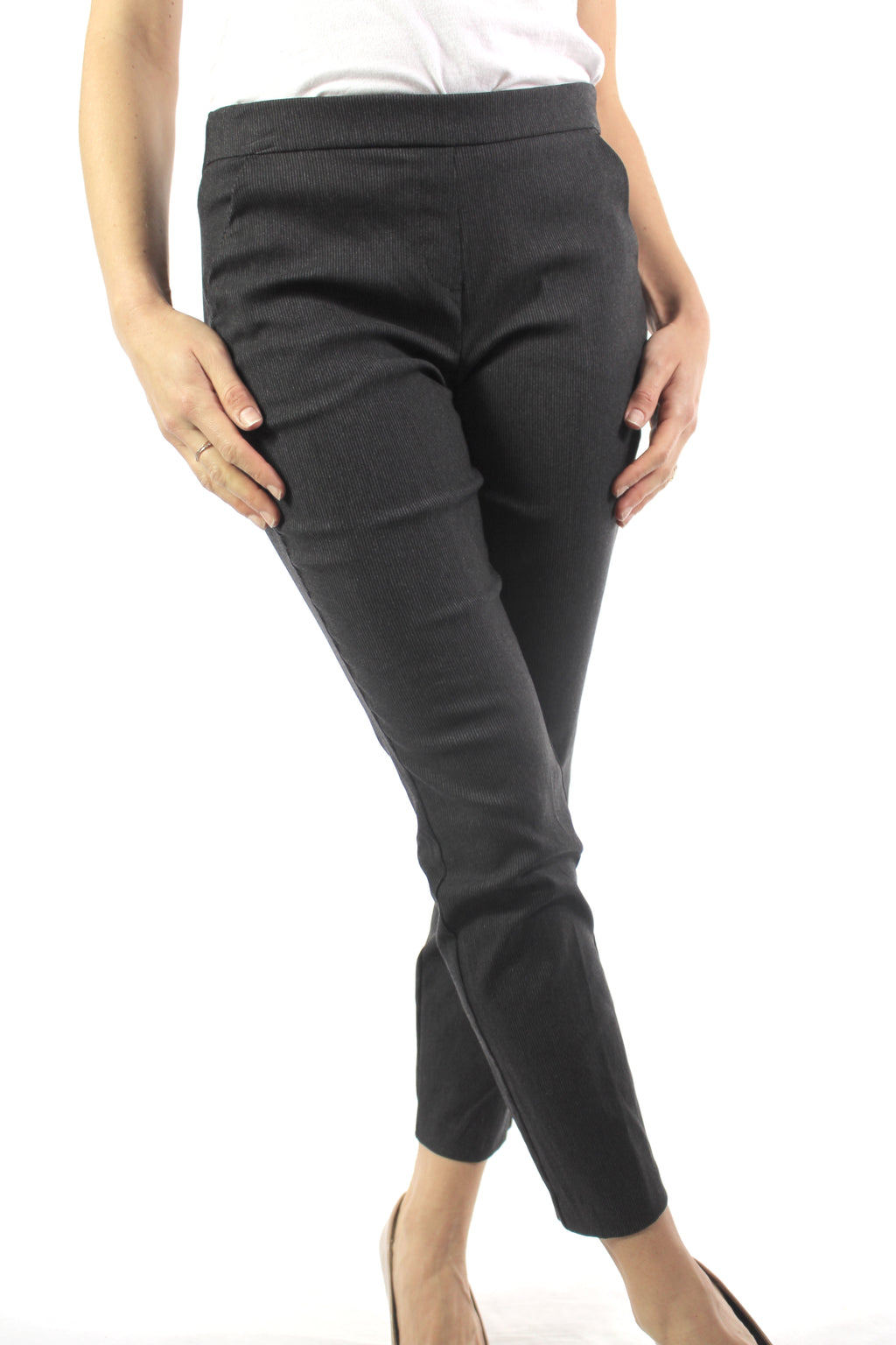 Women's Skinny Fit Striped Ankle Pants