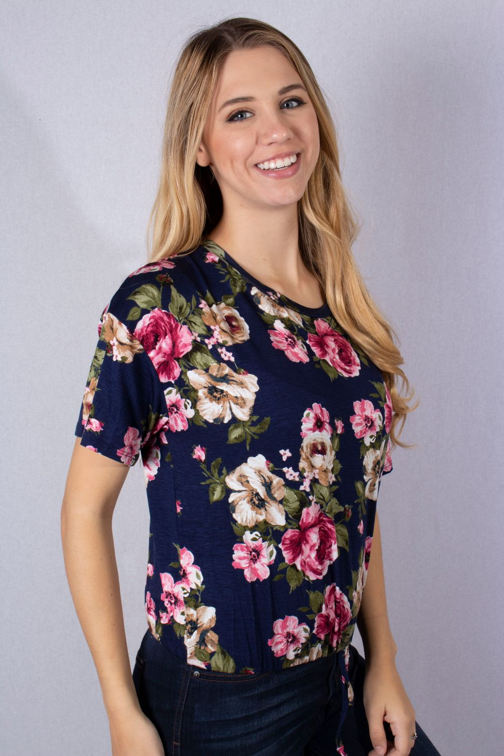 Women's Short Sleeve Floral Drawstring Hem Top