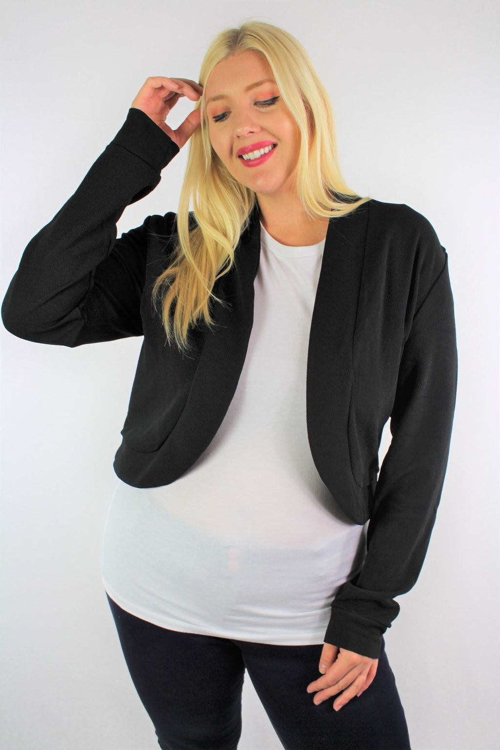 Women's Plus Size Long Sleeve Open Front Mini Blazer