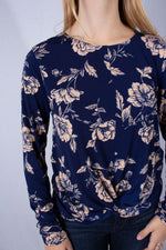 Women's Long Sleeve Floral Top with Front Knot