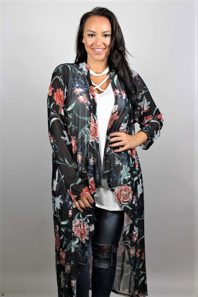 Women's Plus Size Floral Maxi Light Cardigan