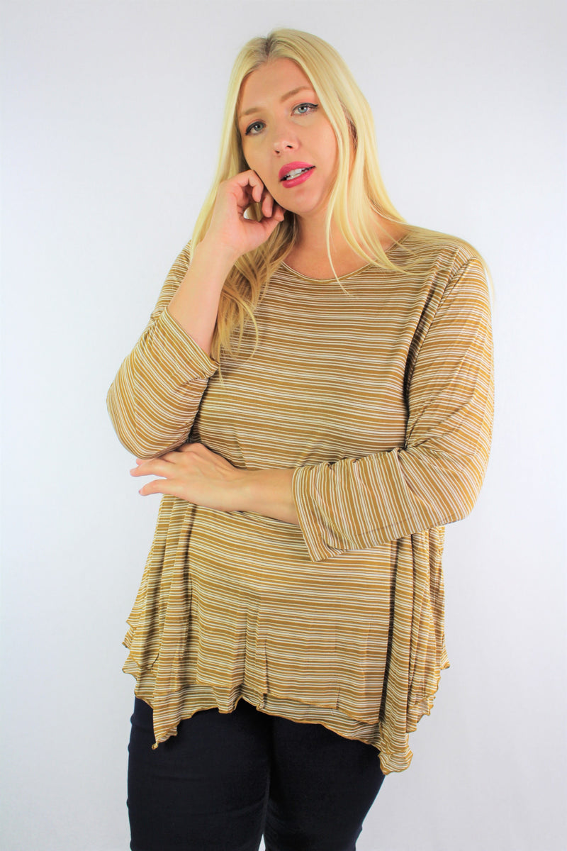 Women's Plus Size 3/4th Sleeve Stripe Top with Open Back