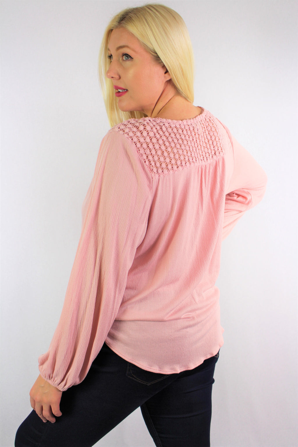 Women's Long Sleeve V Neck Top with Front Knot and Lace Detail