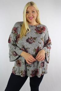 Women's Plus Size 3/4th Bell Sleeve Floral Top