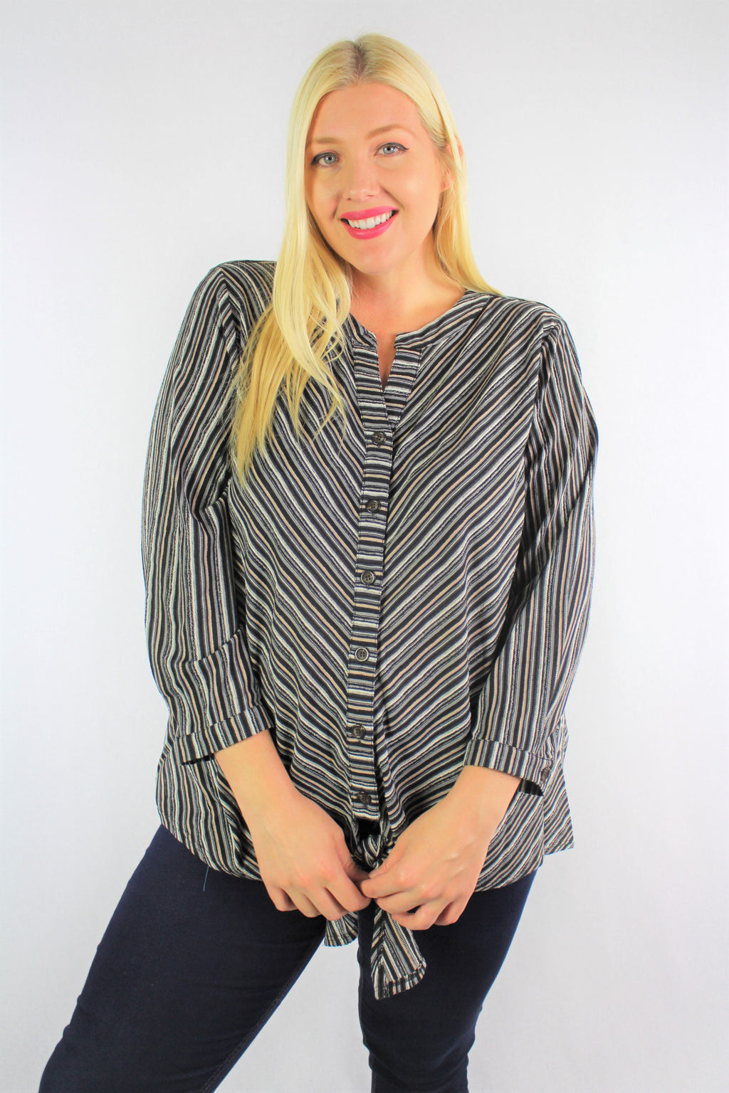 Women's Plus Size Long Sleeve Button Up Top With Front Knot