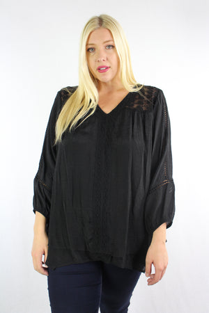 Women's Plus Size 3/4th Sleeve Blouse with Lace and Crochet Details