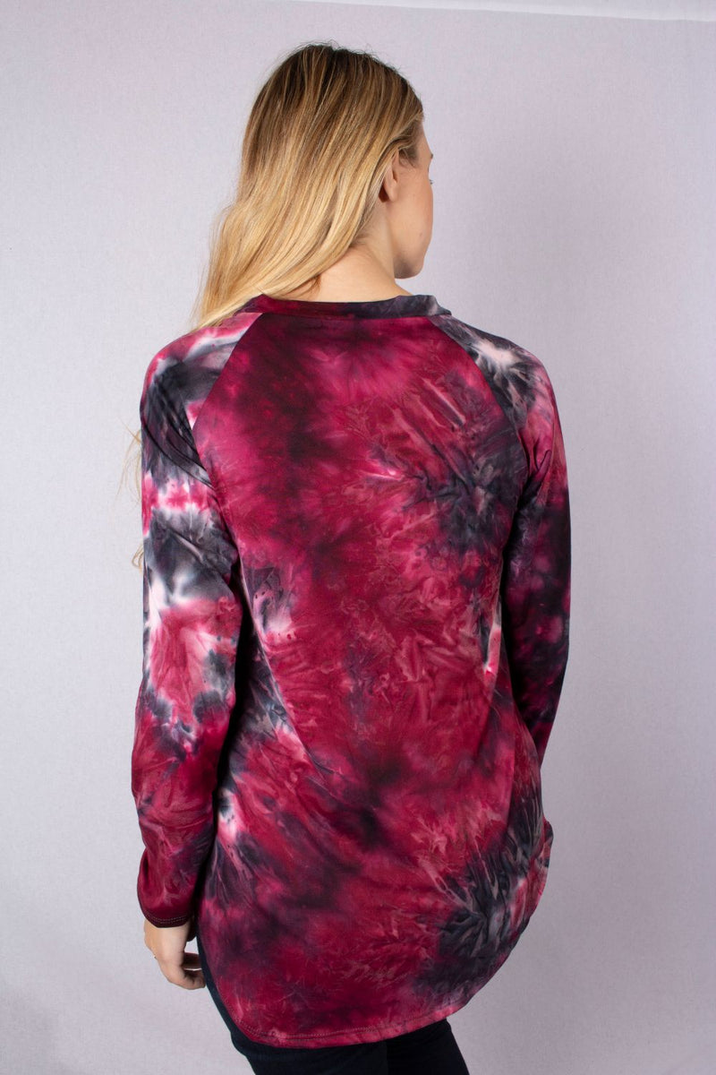 Women's Long Sleeve V Neck Tie Dye Top