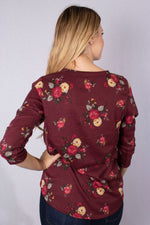 Women's 3/4 Sleeve V-Neck Floral Print Top