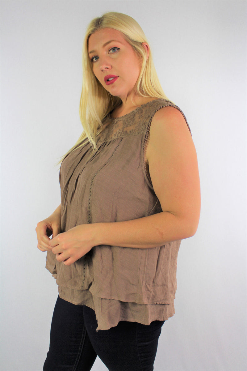 Women's Plus Size Sleeveless Top with Lace Detail