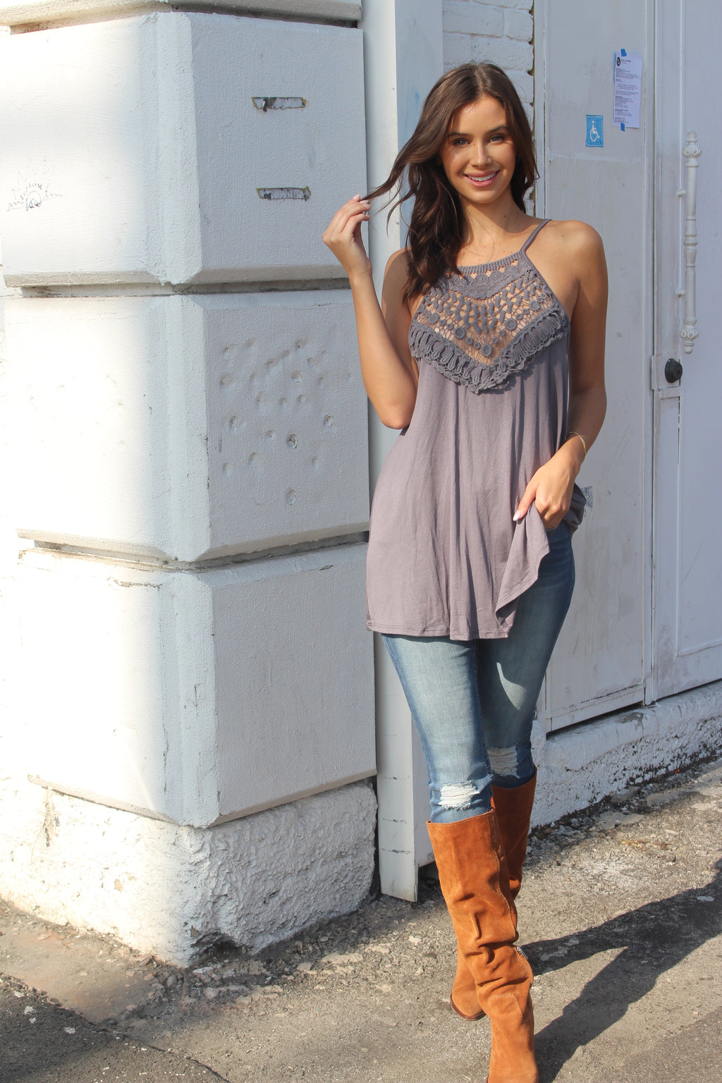 Women's Embroidered Relaxed Fit Tank Top