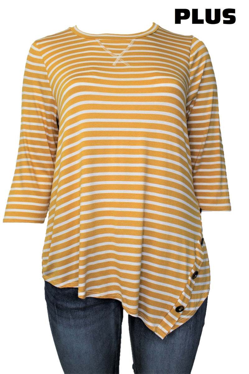 Women's Plus Size 3/4 Sleeve Round Neck Stripe Top with Button Detail