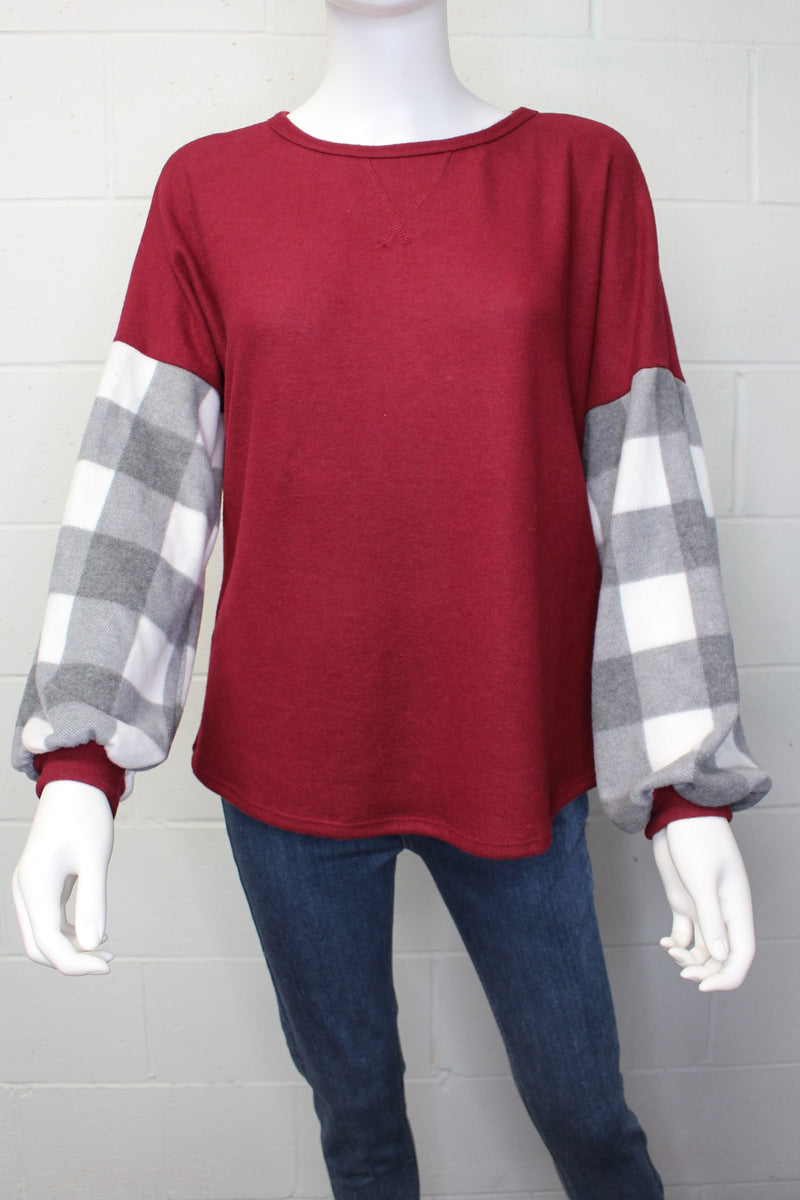 Women's Plaid Print Long Sleeve Round Neck Sweater