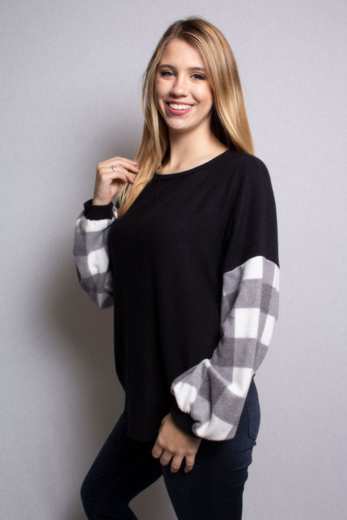 Women's Long Sleeve Plaid Round Neck Sweater