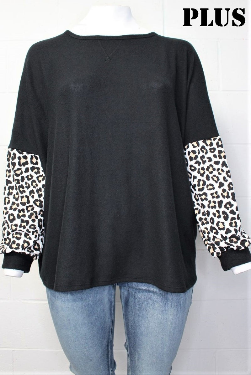 Plus Size Long Sleeve Animal Print Round Neck Sweater