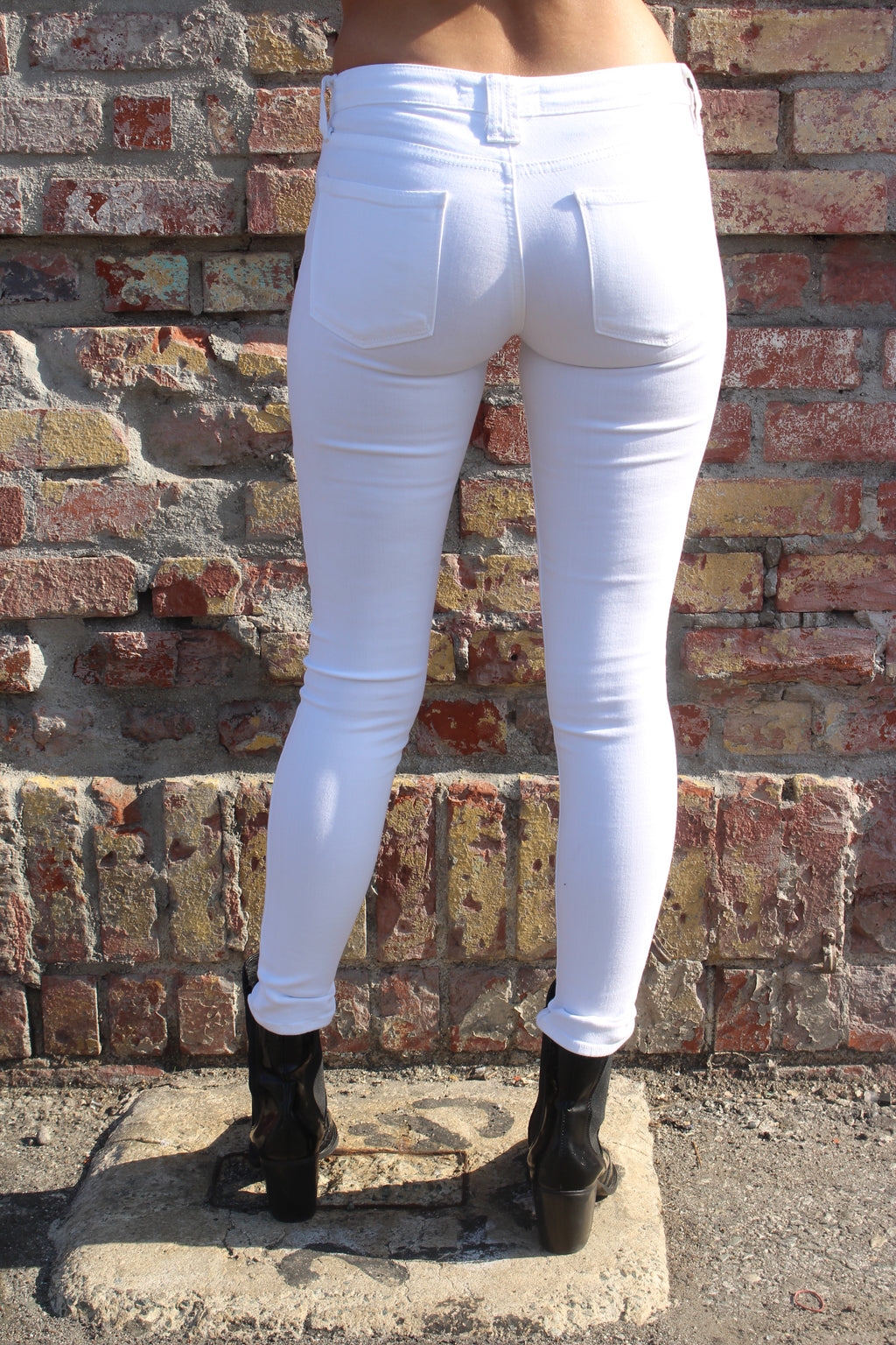 Optic White Ripped Skinny Jeans