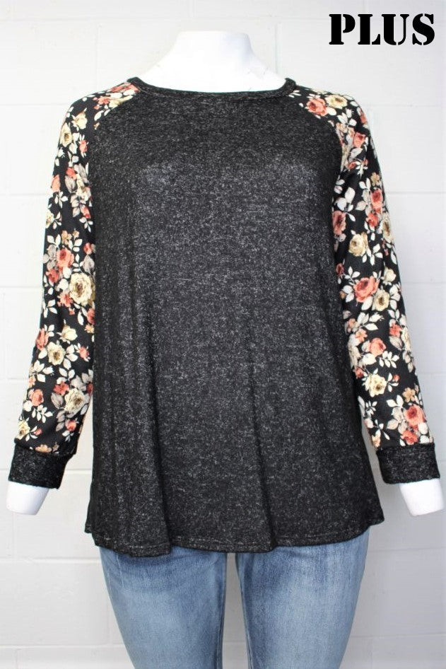Women's Plus Size Floral Print Sleeve Round Neck Top