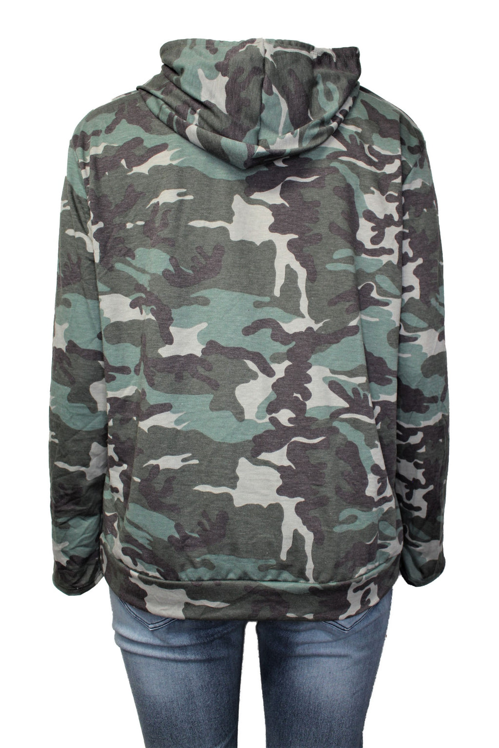 Women's Plus Size Camo Long Sleeve Comfy Hoodie