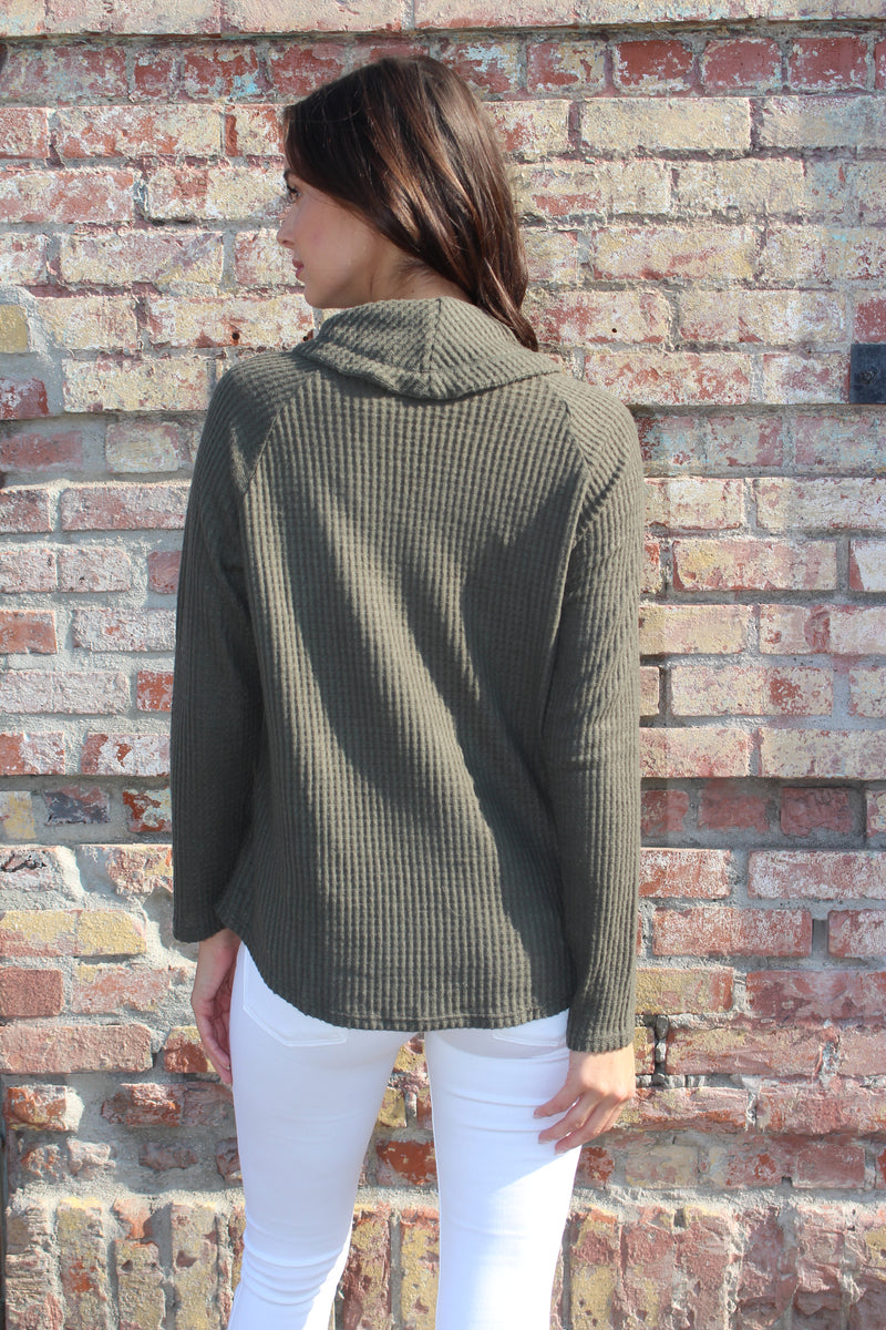 Women's Cowl Neck Sweater with String