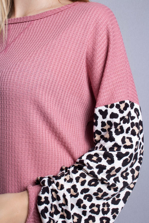 Women's Animal Print Bishop Sleeve Loose Fit Top
