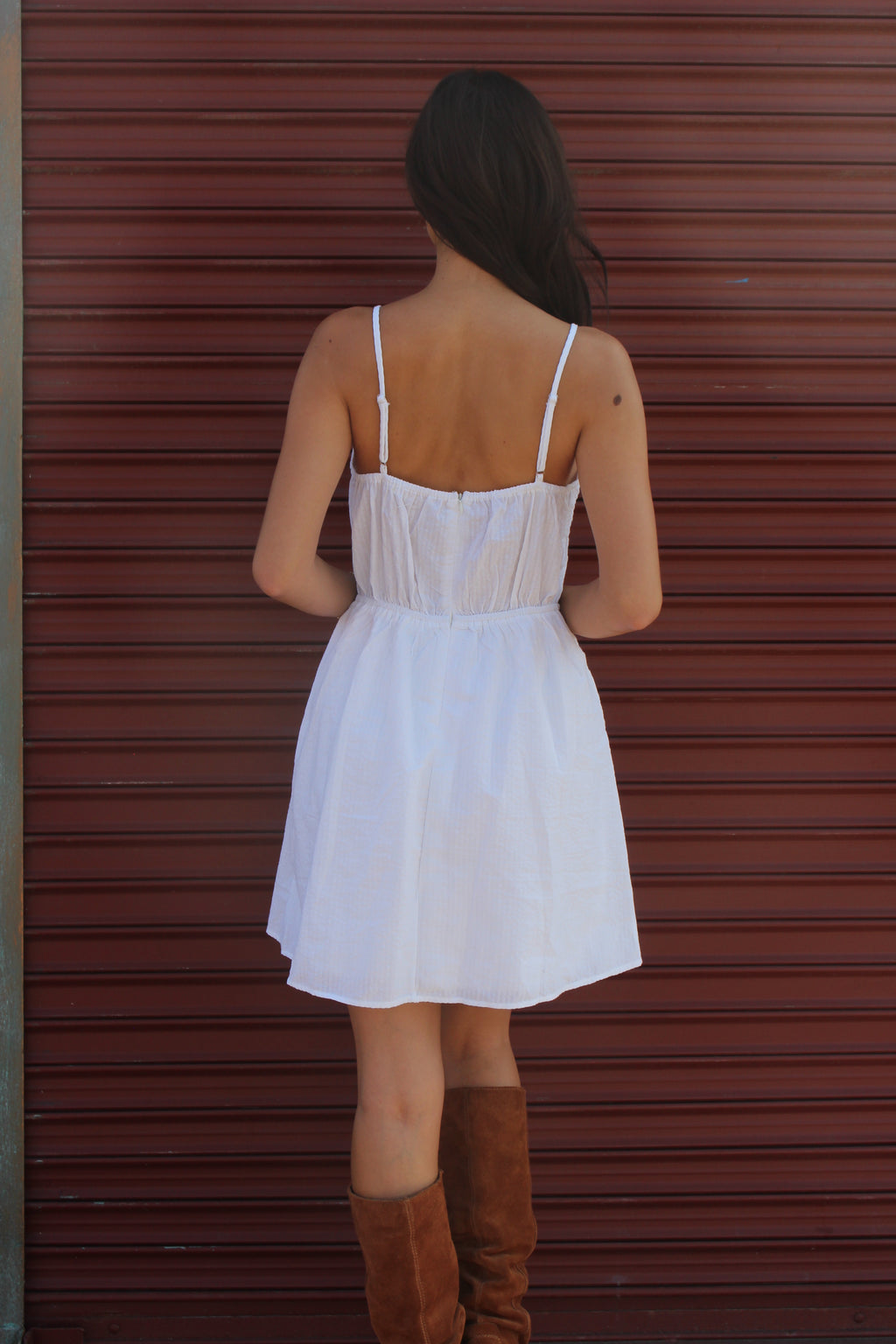 Women's Strappy Solid White Mini Dress