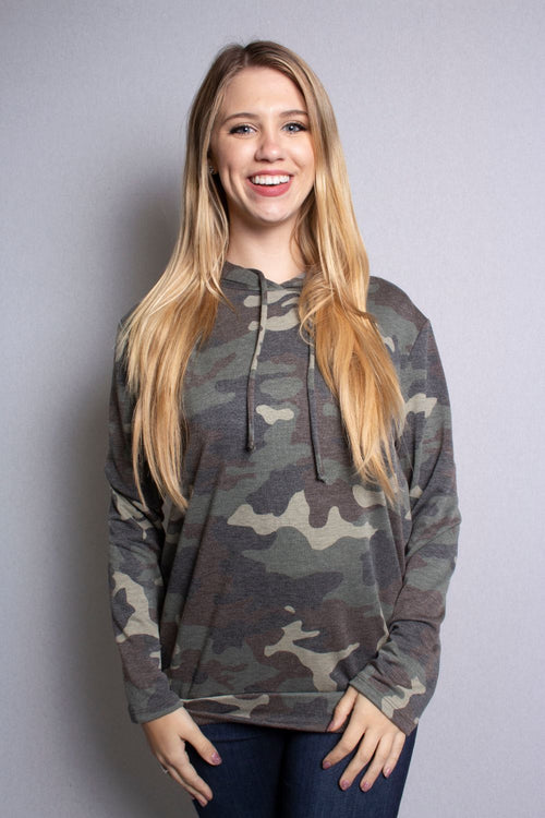 Women's Long Sleeve Comfy Camouflage Hoodie