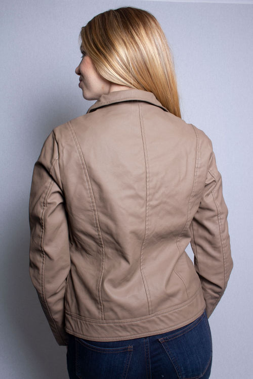 Women's Leather Jacket with Pockets