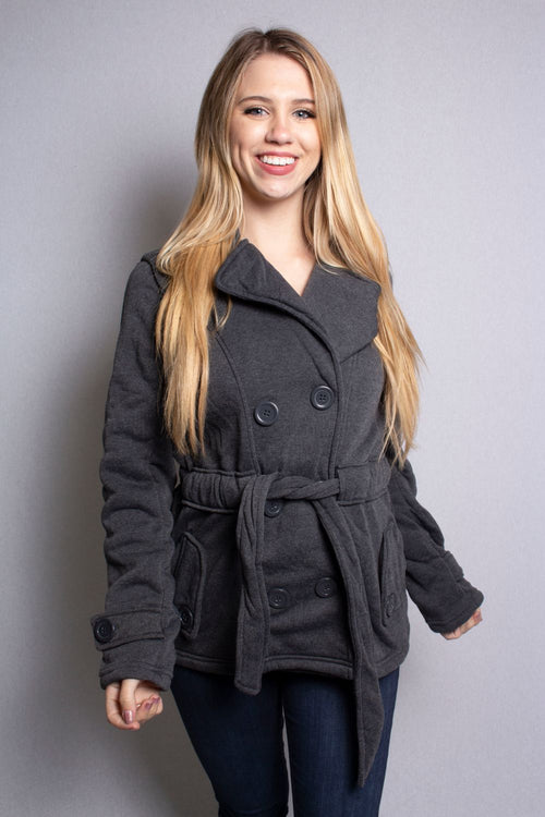 Women's Double Breasted Jacket with Hoodie